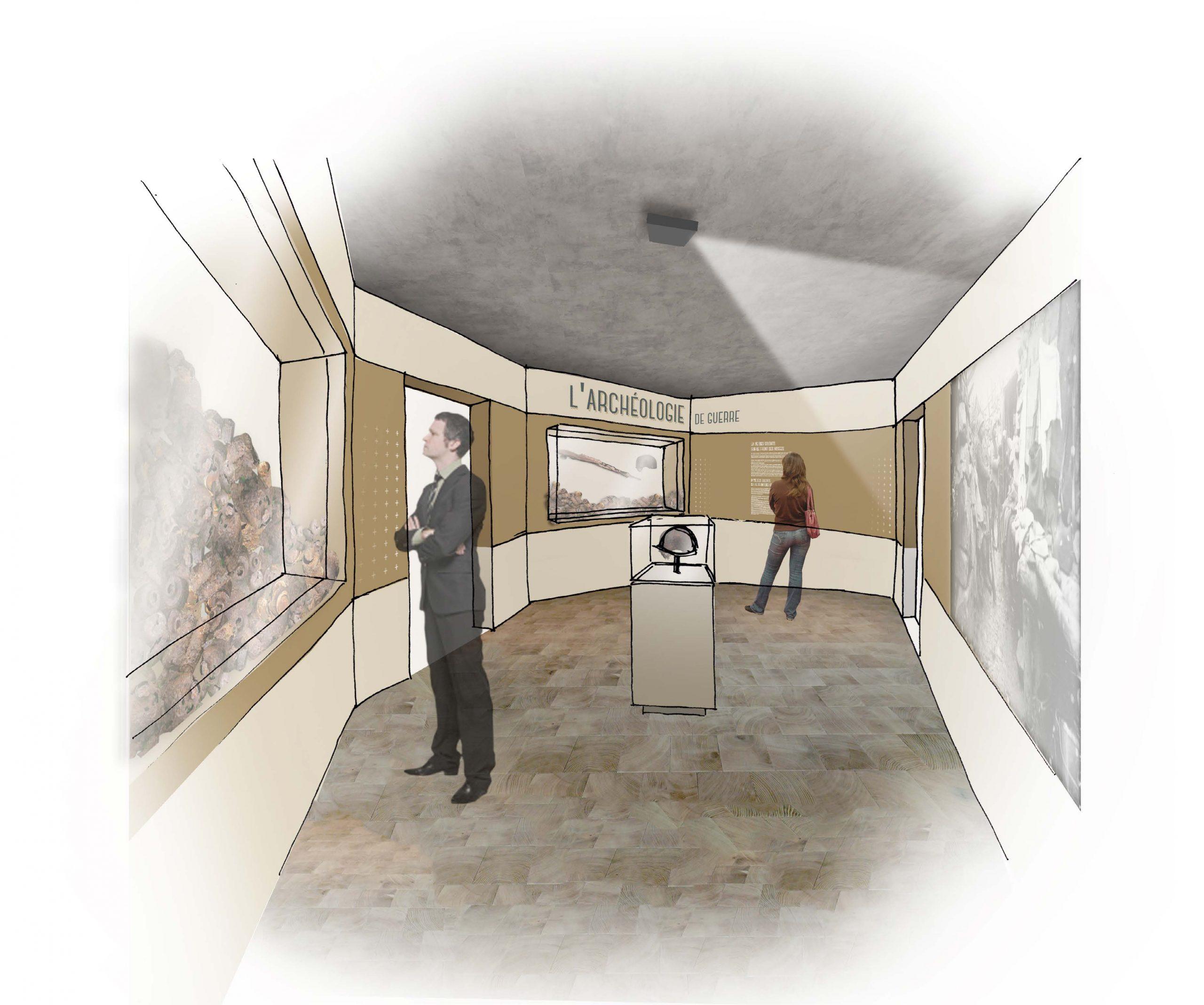 Scénographie du Mémorial de Haute Alsace, Présentation de l'archéologie