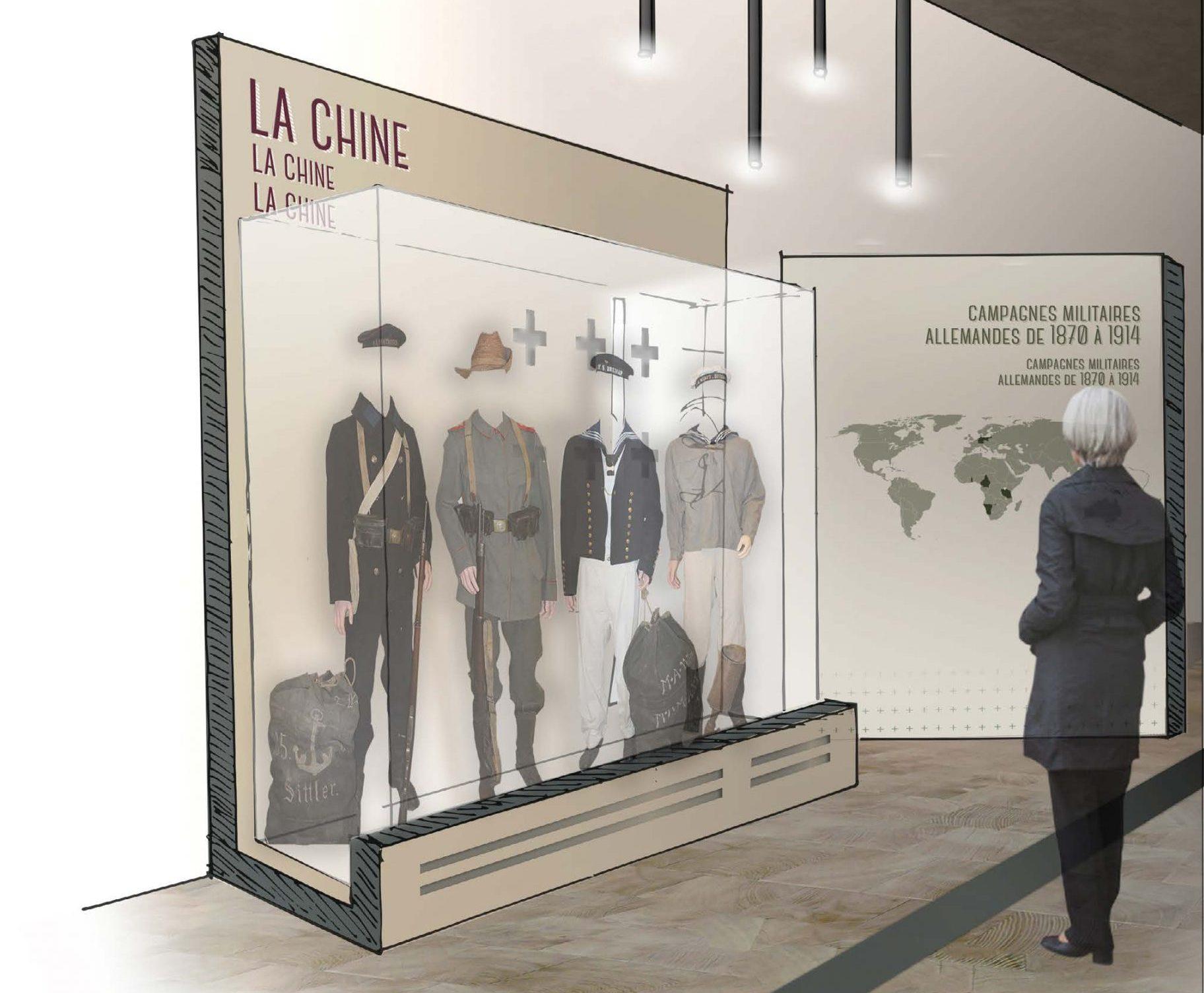 Scénographie de la Mémorial de Haute Alsace, Présentation des uniformes