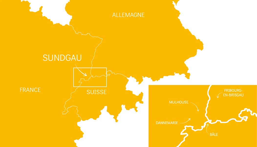 Carte de la région du Sundgau, entre la France, l'Allemagne et la Suisse